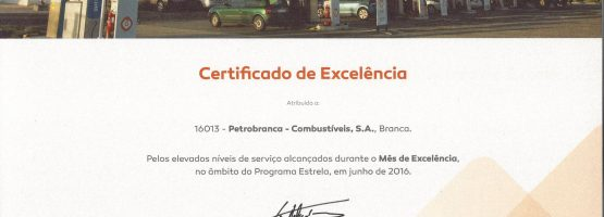 Certificado Excelência, obtido no âmbito do Programa Estrela.
